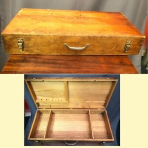 Stanley Antique Oak Wood Case Tool Box Large Vintage Dovetail Chest Made In USA