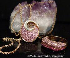 "14k Rose Gold Le Vian Pink Sapphire Diamond Encrusted Swirl Pendant 20"" Chain"