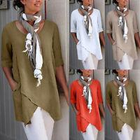 Summer Womens Half Sleeve Cotton Linen Blouse Tops Casual Cross T Shirt Tunic UK