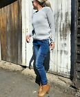 NEW LADIES LACE UP KNIT JUMPER CREAM AND GREY SIZE 8-10-12-14 S/M & M/L ON SALE