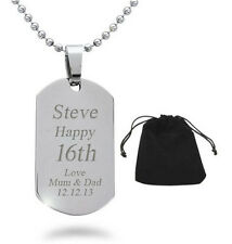 Personalised Engraved ID Dog Tag Necklace 13th 14th 15th 16th 17th 18th Birthday