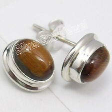 925 Solid Silver BROWN TIGER'S EYE Studs STUNNING Collectible Earrings 1.2 CM
