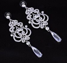 Crystal Chandelier Long Drop Earrings Bridal Chandelier Cubic Zirconia Earrings