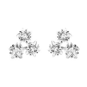 Sterling Silver Shine Bright Triple Twickle CZ Stars Stud Earrings B