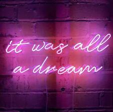 It Was All A Dream Purple Real Neon Sign Beer Bar Light  Home Decor
