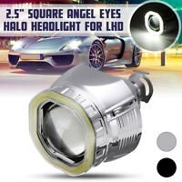 2.5 in Square Angel Eyes Halo DRL HID Bi-xenon Projector Lens Headlight Kit LHD