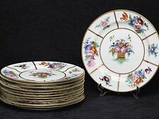 11 (Eleven) CROWN SUTHERLAND Bone China Hand Painted Floral Panels Plates