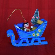 Enesco 1984 Wood Ornament Handpainted Sleigh, Toy Soldier, Christmas Tree, Mint