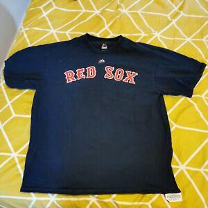 Boston Red Sox Men's Blue T-Shirt #15 Pedroia Large