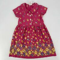 Hanna Andersson Dress Girls Size 100 4 Pink Floral Peter Pan Collar Short Sleeve