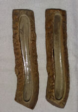 2 Vintage Hillstonia / Virtry Ware Log Shaped Stoneware Planters