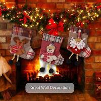 3pcs Christmas Stockings Santa Snowman Reindeer Xmas Character Hanging Pendant