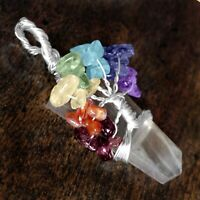 Quartz Crystal 7 Chakra Pendant Wire Wrap Tree of Life Necklace Handmade CHARGED