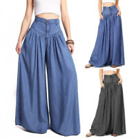 Women Casual Loose Stretch High Waist Wide Leg Long Pants Solid Palazzo Trousers