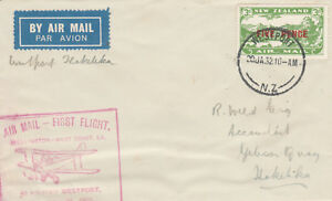 New Zealand 54 - 1932 FIRST FLIGHT COVER WESTPORT to HOKITIKA