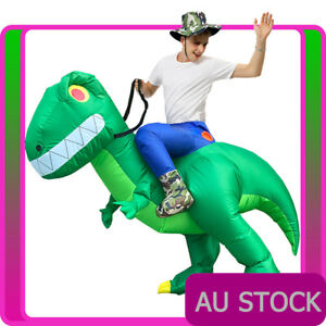 Mens Inflatable Ride on Giant Dinosaur Costume Rider Animal Adult Blow Up Trex