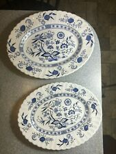 "J & G MEAKIN England CLASSIC Blue Nordic Blue Onion 2 OVAL PLATTERS 12"" & 14"""