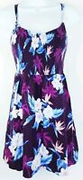 American Eagle Womens Maroon Blue Pink Floral Sleeveless Summer Dress Size Small