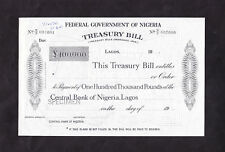 £100 000- TREASURY BILL of the FEDERAL GOVERNMENT OF NIGERIA