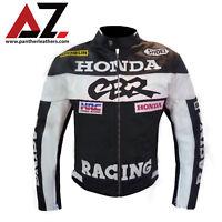 New HONDA CBR Hand Made Black Leather Motorcycle Racing Motorbike Biker Jacket