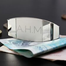 Personalised Engraved Classic Initial Money Clip Gift for Men Fathers Day