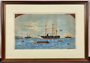 Original 1863 Civil War Folk Art Watercolor Union Confederate Navy Ships Harbor