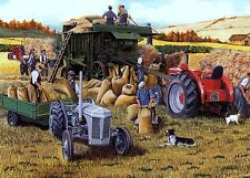 Beautiful Print Picture Painting Autumn Threshing Tractor Field Country Combine