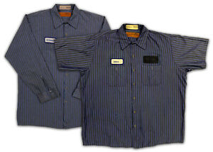 Red Kap Work Shirts 2 Pocket Stripe Poplin Short & Long Sleeve Uniform #B