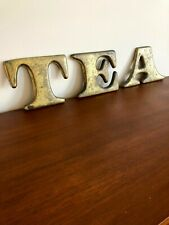 Vintage heavy solid brass letters marquee shop cafe restaurant decor T E A sign