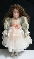 Outstanding Porcelain Doll with beautiful long curly Dark Auburn Hair