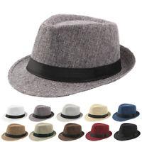 NEW Jazz Hat Men's Breathable Linen Top Hat Outdoor Sun Hat Curly Brim Straw Hat