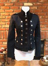 Designer CYNTHIA STEFFE Black Velvet MOD Rocker Military Blazer Jacket sz 2
