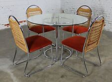 Mid Century Daystrom Round Glass and Chrome Dinette Table and Four Chrome and Wi