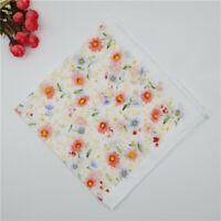 Elegant Flower Vintage style Women Ladies Handkerchiefs Hankies Cotton Blue Pink