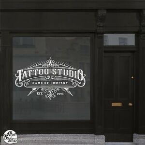 Tattoo Shop Studio Window Sticker Wall Decal Sign Quality Vinyl Size Gold Chrome