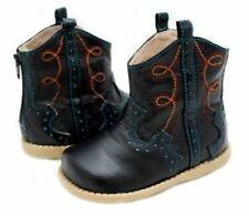 New LIVIE & LUCA Shoes Cowboy Cowgirl Boots Buck Black Blue toddler 4 HTF!