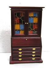 Dolls House  1:12  Furniture Mahogany Colour Bureau Bookcase with book