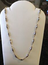 """14K Two Tone Beaded Necklace 17"""""""
