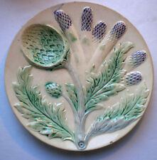 French Majolica asparagus plate LUNEVILLE: Asparagus and Artichoke