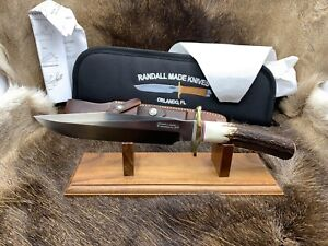 Randall Model 1-7 Fighting Knife With Stag Handles Leather Sheath Mint Pouch++++