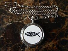 Watch With Chain (New) Jesus Fish Chrome Pocket