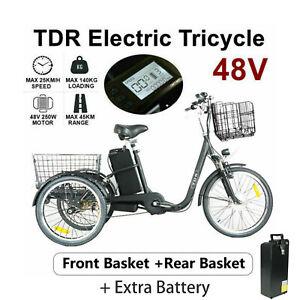 48V 250W Electric Cargo Tricycle E-Bike, Rear & Basket Trike, Extra 1 Battery