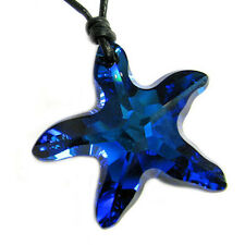 Swarovski Elements Crystal Starfish 28mm Pendant Black Leather Choker Necklace
