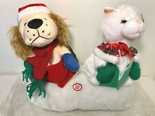 Wish You A Merry Christmas Plush Animated Dog & Cat Beverly Hills Teddy Bear Co
