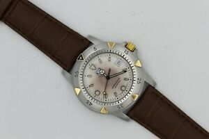 Tag Heuer 955.706 White Gold 1500 Professional Jumbo Watch Mens Brown Leather