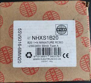 Wylex NHXS1B20 Miniature RCBO 230/340V. Brand New