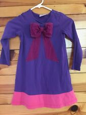 Hanna Andersson Bow Dress Purple w/Pink Hem Girls Size 110 5-6