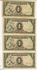 Lot of 4 rare old Banknotes from Japan Invasion WW2! Consecutive Serial Numbers!