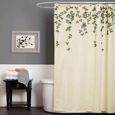 NWT Lush Decor Flower Drop Ivory/Blue Shower Curtain Blue 72 x 72
