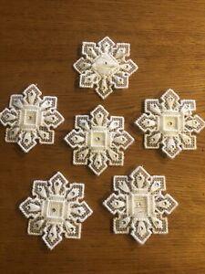 6 VTG Snowflake Plastic Canvas Yarn Ornaments Handmade Christmas/Rhinestones 3D
